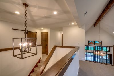 Upstairs with designer chandelier