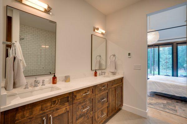 open bathroom and master bedroom