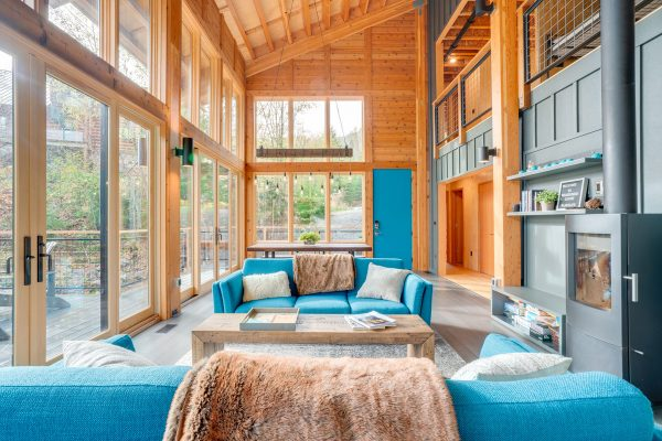 Turquoise accents in Mountain Modern living room
